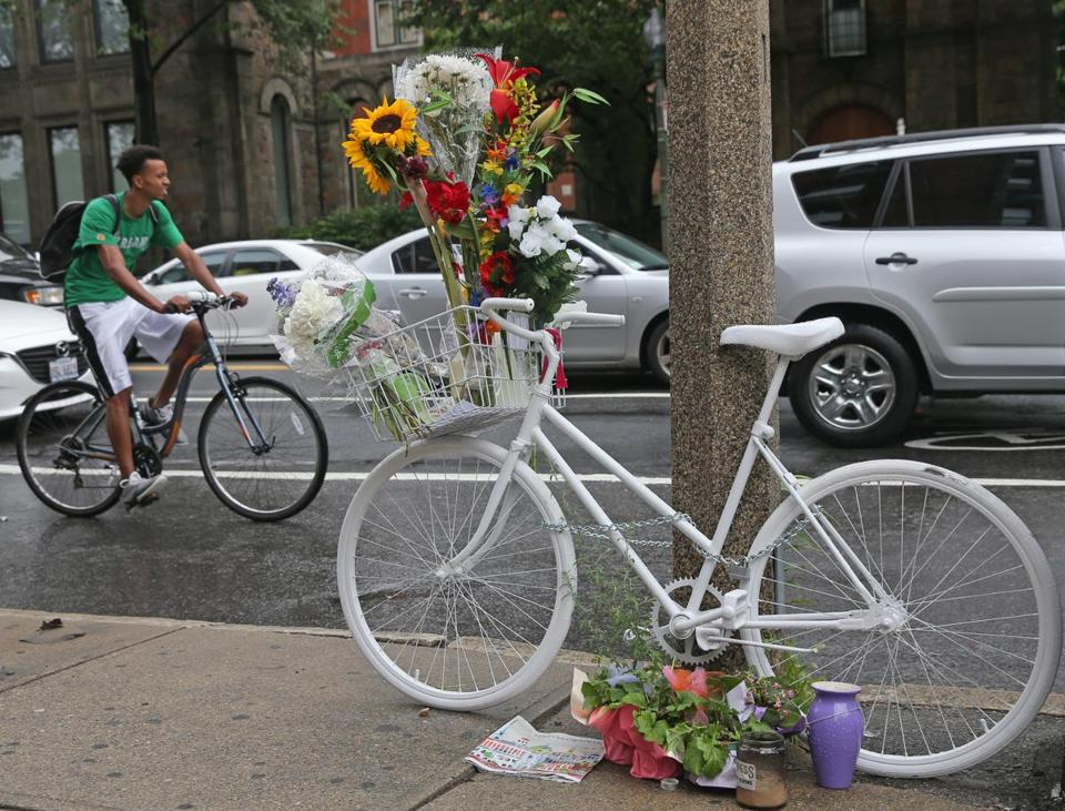 After Dr. Anita Kurmann's death, a ghost bike was left at the corner of Massachusetts Avenue and Beacon Street, where she was struck and killed.